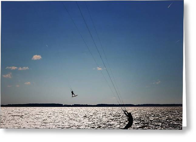 Kiteboarding Greeting Cards - Sky Jockey Greeting Card by Robert McCubbin