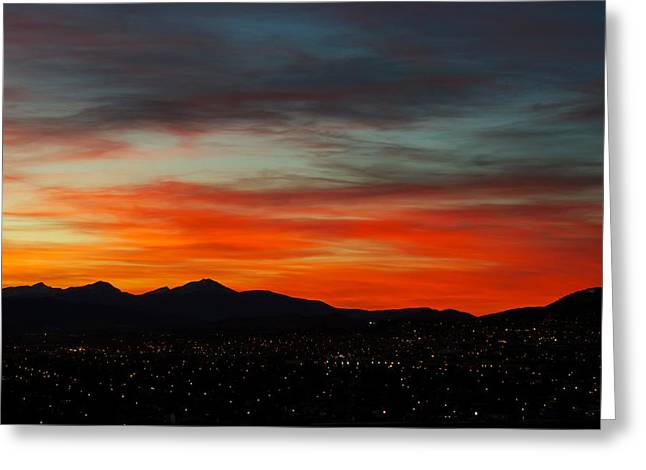 Sunset Greeting Cards Greeting Cards - Sky on Fire -- Butte Mt Greeting Card by Kevin Bone