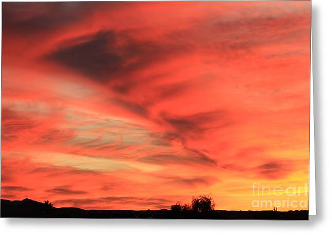 Shades Of Red Greeting Cards - Sky On Fire Greeting Card by Carol Komassa