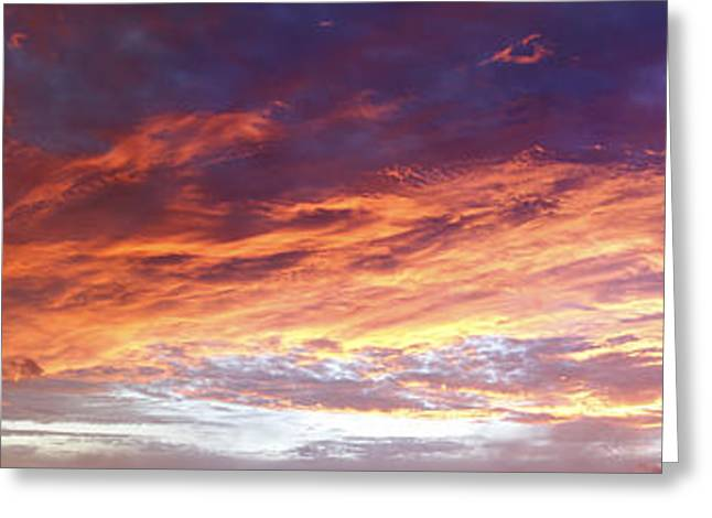 Cloudscapes Greeting Cards - Sky on fire Greeting Card by Les Cunliffe