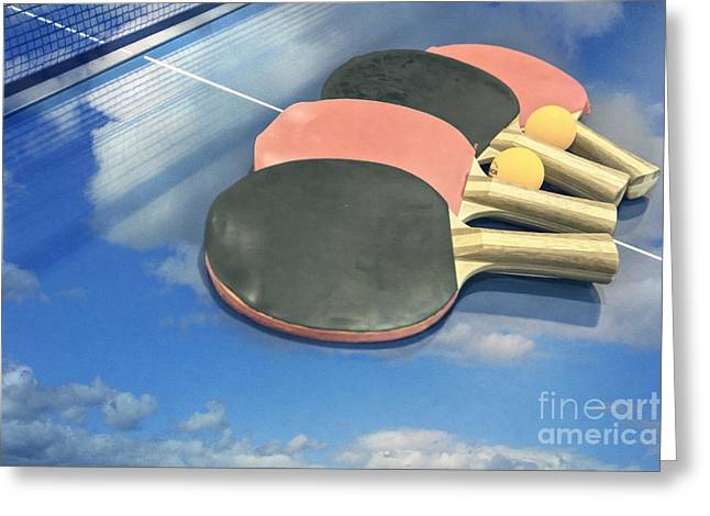 Table Tennis Racket Greeting Cards - Sky Ping-pong Clouds Table Tennis Paddles Rackets Greeting Card by Beverly Claire Kaiya