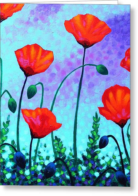 Acrylic Greeting Cards - Sky Poppies Greeting Card by John  Nolan