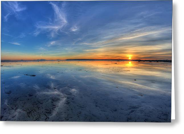 Reflection Of Sun In Clouds Greeting Cards - Sky reflection in Boundary Bay Greeting Card by Pierre Leclerc Photography