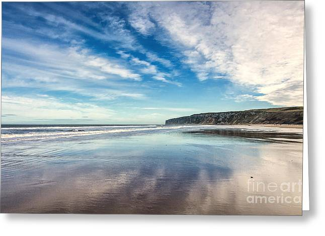 Ocean Landscape Greeting Cards - Sky Reflections Greeting Card by Svetlana Sewell