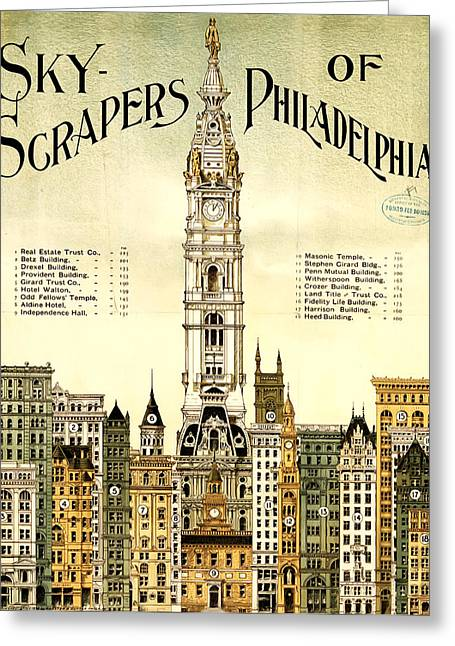 Cityhall Greeting Cards - Sky Scrapers of Philadelphia 1896 Greeting Card by Bill Cannon