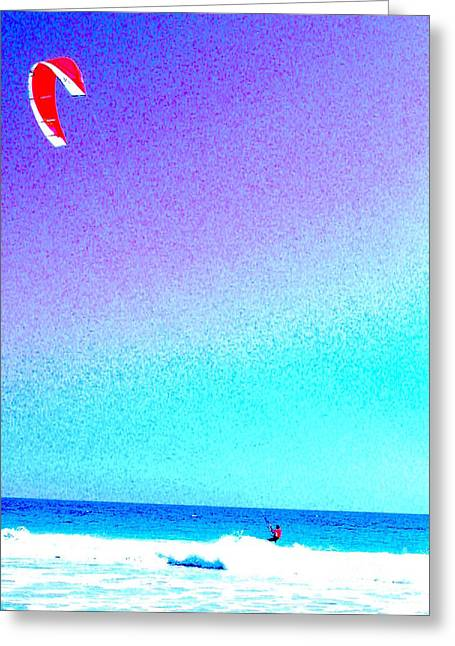 Kite Surfing Greeting Cards - Sky Sea Surf Greeting Card by George Tatevossian