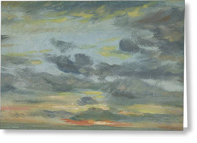 Sunset Drawings Greeting Cards - Sky Study, Sunset, 1821-22 Greeting Card by John Constable