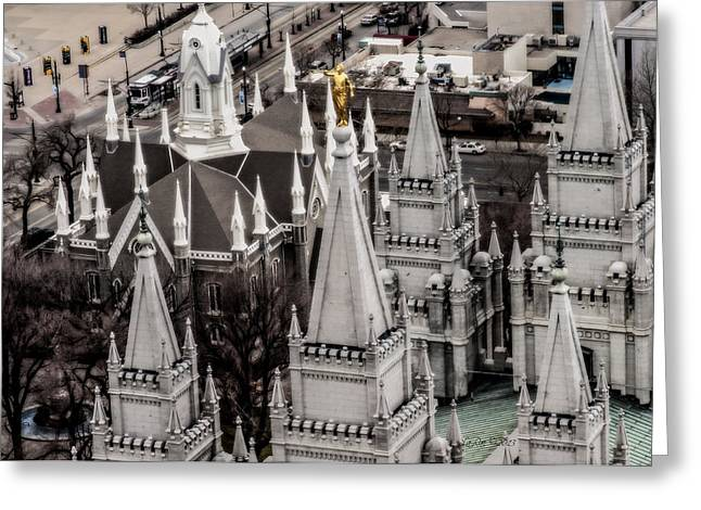 Utah Temple Photography Greeting Cards - Sky View SLC Temple Greeting Card by La Rae  Roberts