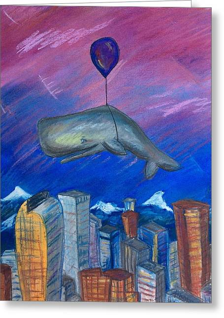 Whale Pastels Greeting Cards - Sky Whale Over Denver Greeting Card by Athena Lutton