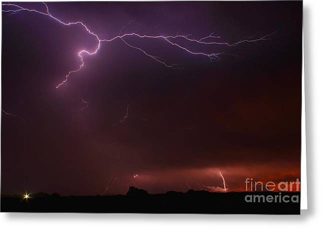 Stormy Night Greeting Cards - Sky Writing by GOD 2 Greeting Card by Reid Callaway