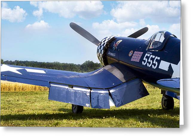 Aviation Photographs Greeting Cards - Skyboss Corsair Greeting Card by Peter Chilelli