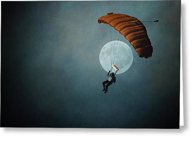Skydiver's Moon Greeting Card by Trish Mistric