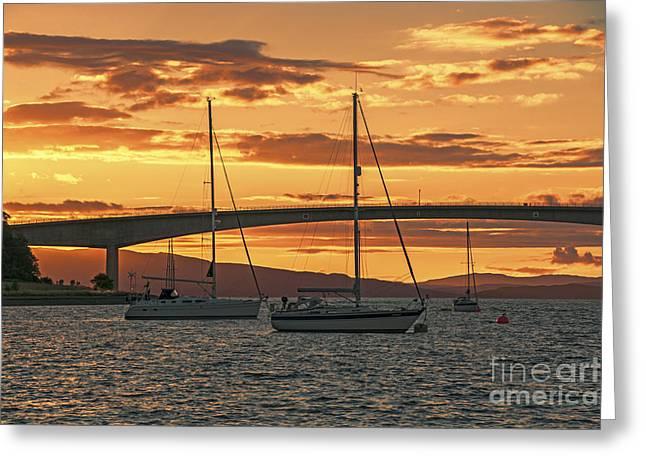 Norwegian Sunset Greeting Cards - Skye Bridge Sunset Greeting Card by Chris Thaxter