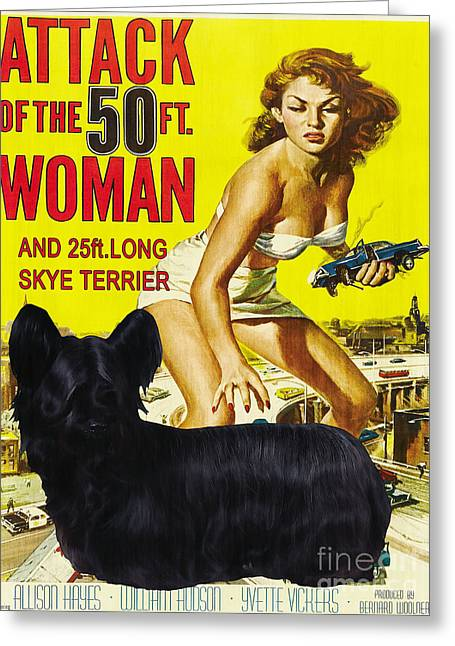 Attack Dog Greeting Cards - Skye Terrier Art Canvas Print - Attack of the 50ft woman Movie Poster Greeting Card by Sandra Sij