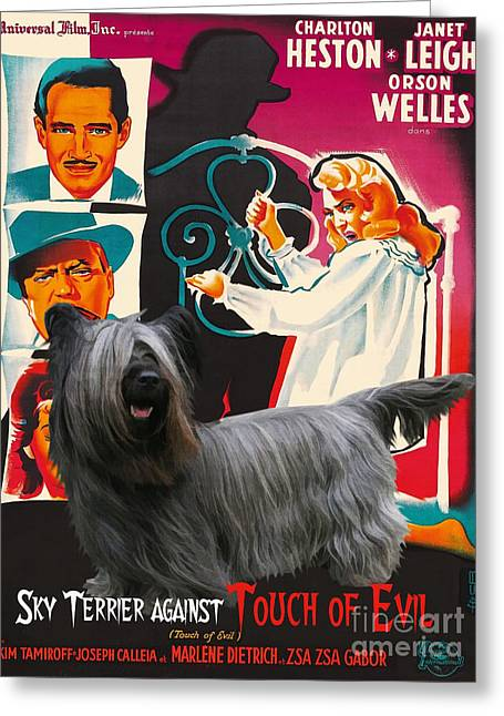Portrait Of Evil Greeting Cards - Skye Terrier Art Canvas Print - Touch of Evil Movie Poster Greeting Card by Sandra Sij