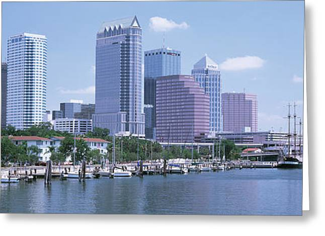 Docked Boats Greeting Cards - Skyline & Garrison Channel Marina Tampa Greeting Card by Panoramic Images