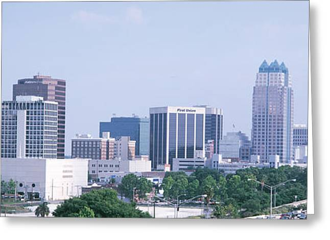 Faint Greeting Cards - Skyline & Interstate 4 Orlando Fl Usa Greeting Card by Panoramic Images