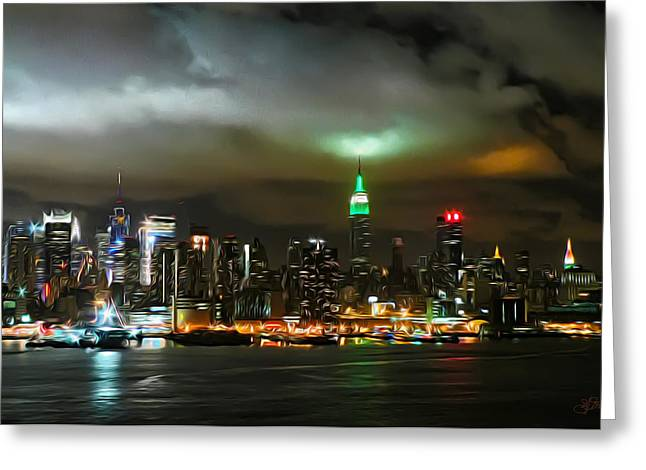 Glass Reflecting Paintings Greeting Cards - Skyline at Night Greeting Card by Jeff Stein