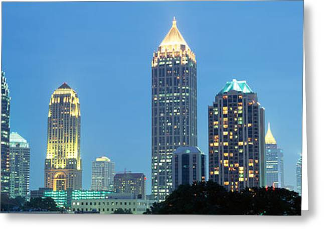 Glass Reflections Greeting Cards - Skyline Atlanta Ga Usa Greeting Card by Panoramic Images