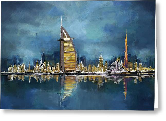 Souvenirs Greeting Cards - Skyline Burj-ul-Khalifa  Greeting Card by Corporate Art Task Force