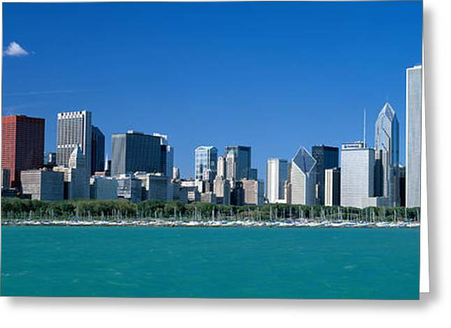 Docked Sailboat Greeting Cards - Skyline Chicago Il Usa Greeting Card by Panoramic Images