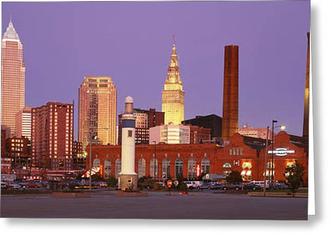 Cleveland Ohio Photographs Greeting Cards - Skyline, Cleveland, Ohio, Usa Greeting Card by Panoramic Images
