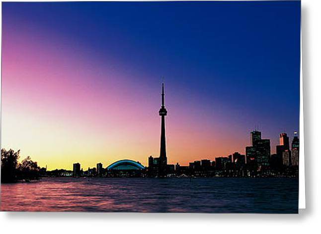 Colorful Photography Greeting Cards - Skyline Cn Tower Skydome Toronto Greeting Card by Panoramic Images
