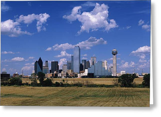 Mow Greeting Cards - Skyline Dallas Tx Usa Greeting Card by Panoramic Images