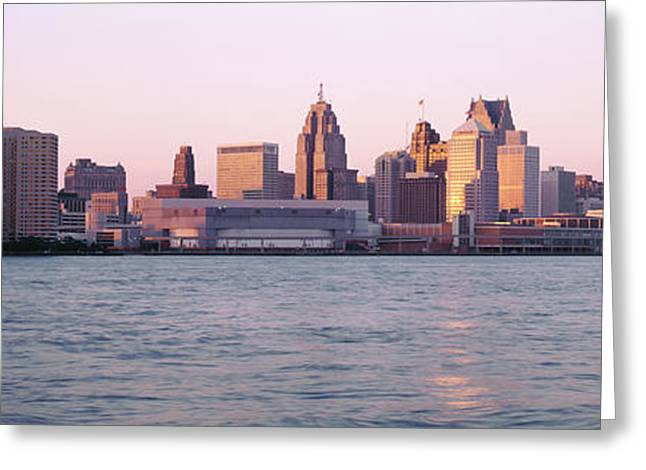 Pale Blue Greeting Cards - Skyline Detroit Mi Usa Greeting Card by Panoramic Images