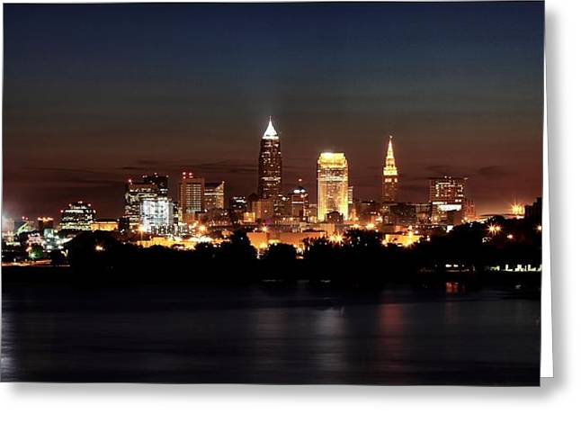 Ohio Pyrography Greeting Cards - Skyline Downtown Cleveland Greeting Card by Daniel Behm