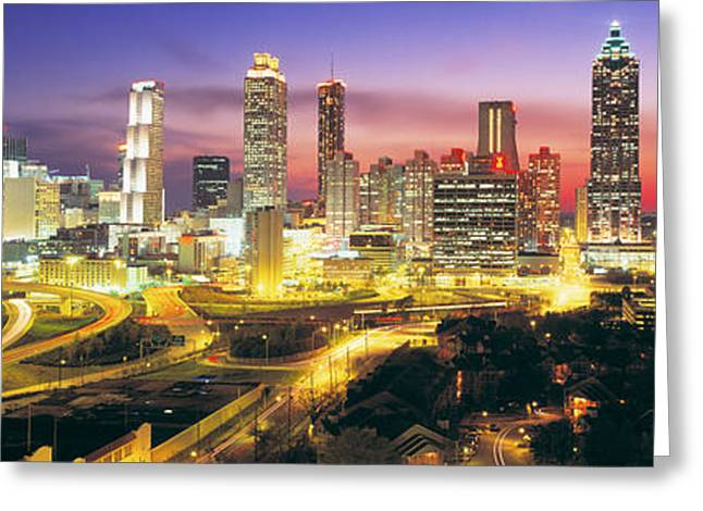 Ga Greeting Cards - Skyline, Evening, Dusk, Illuminated Greeting Card by Panoramic Images