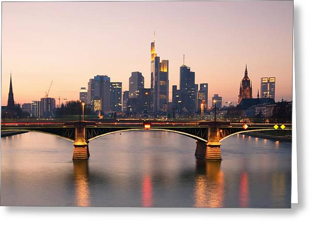 Wolkenkratzer Greeting Cards - Skyline Frankfurt Greeting Card by Steffen Gierok