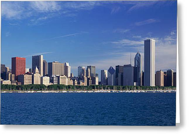 Highrises Greeting Cards - Skyline From Lake Michigan, Chicago Greeting Card by Panoramic Images
