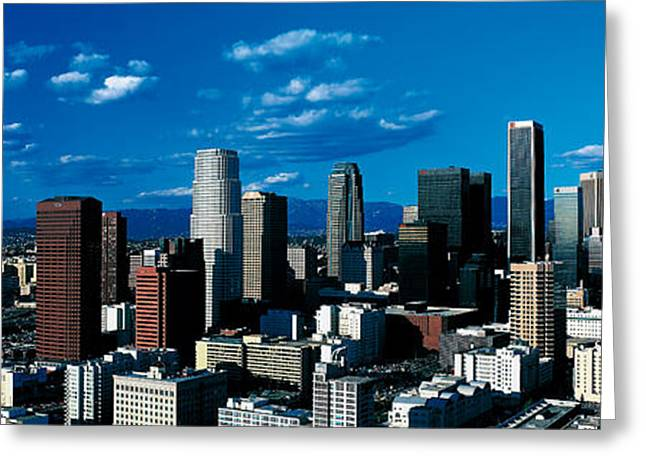 Sunny Afternoon Greeting Cards - Skyline From Transamerica Center Los Greeting Card by Panoramic Images