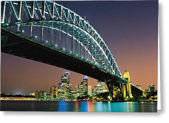 City Buildings Greeting Cards - Skyline Harbour Bridge Sydney Australia Greeting Card by Panoramic Images