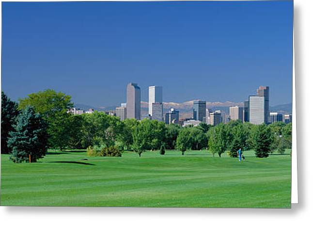 Urban Sport Greeting Cards - Skyline In Daylight, Denver, Colorado Greeting Card by Panoramic Images