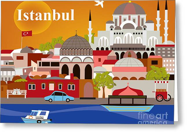 Istanbul Greeting Cards - Skyline Greeting Card by Karen Young