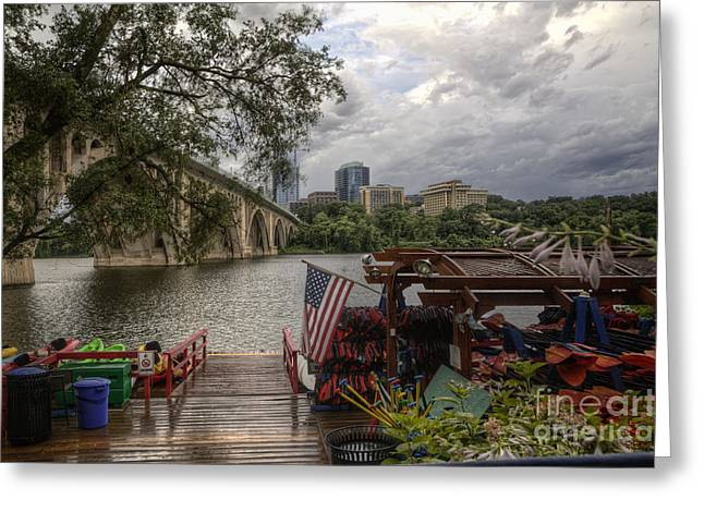 American_flag Greeting Cards - Skyline Greeting Card by Kate Mitchem