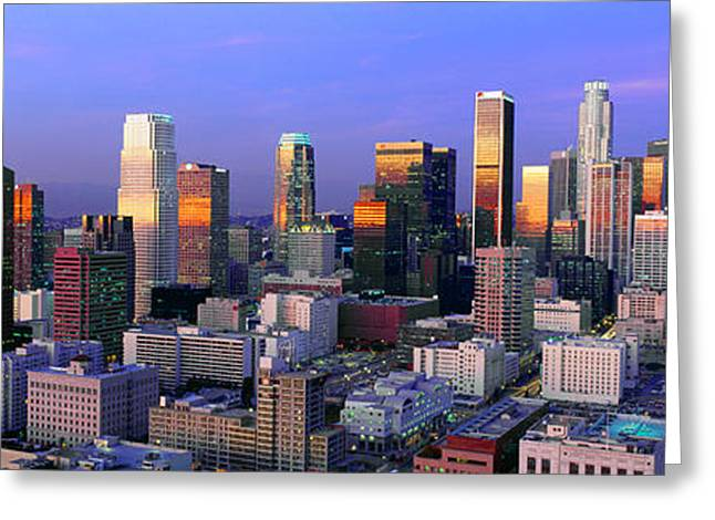 Worlds Population Greeting Cards - Skyline, Los Angeles, California Greeting Card by Panoramic Images