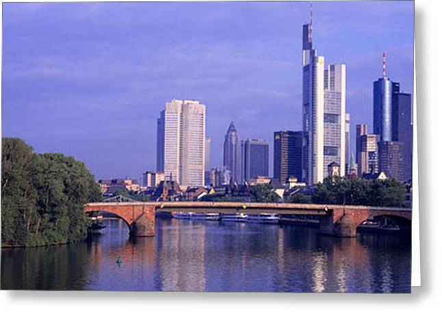 Historic Architecture Greeting Cards - Skyline Main River Frankfurt Germany Greeting Card by Panoramic Images