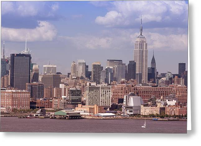 Brooklyn Promenade Greeting Cards - Skyline New York Greeting Card by D Plinth