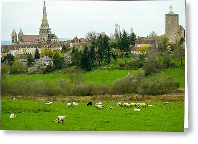 Geobob Greeting Cards - Skyline of Autun showing Ursulines Tower and St  Lazare Cathedral Saone et Loire Burgundy France Greeting Card by Robert Ford
