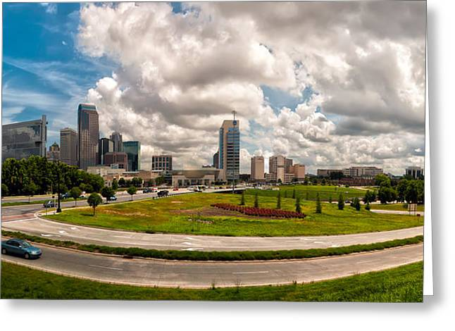 Charlotte Bobcats Greeting Cards - Skyline of Charlotte Towers Greeting Card by Alexandr Grichenko