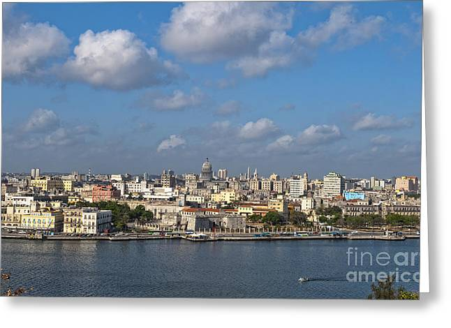 Havana Greeting Cards - Skyline Of Downtown Havana, Cuba Greeting Card by Bill Bachmann
