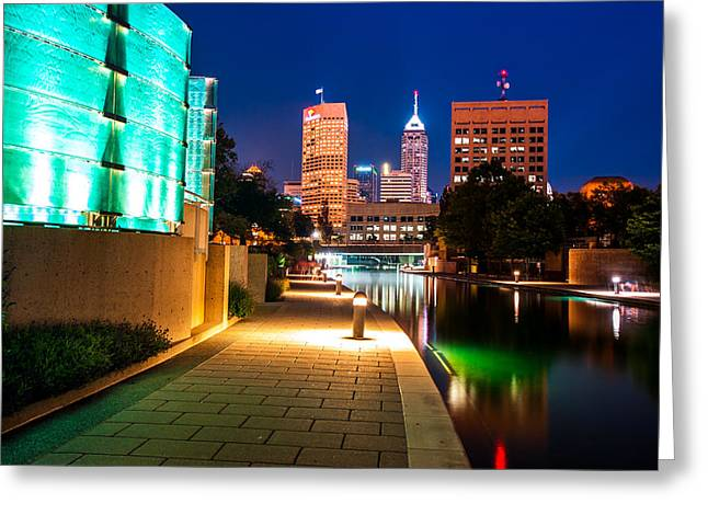 Indiana Greeting Cards - Skyline of Indianapolis Indiana from the Canal Walk Greeting Card by Gregory Ballos