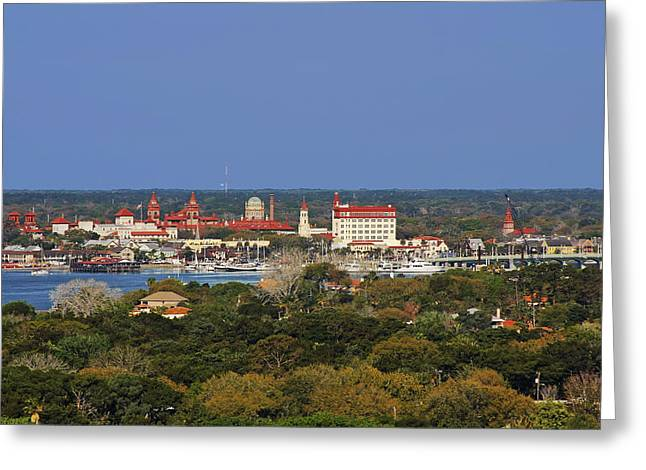 Historic Site Greeting Cards - Skyline of St Augustine Florida Greeting Card by Christine Till