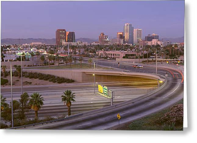 Merging Greeting Cards - Skyline Phoenix Az Usa Greeting Card by Panoramic Images