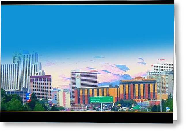 Print On Canvas Greeting Cards - Skyline Reno  Greeting Card by Bobbee Rickard