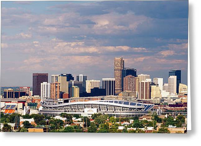 Locations Greeting Cards - Skyline With Invesco Stadium, Denver Greeting Card by Panoramic Images
