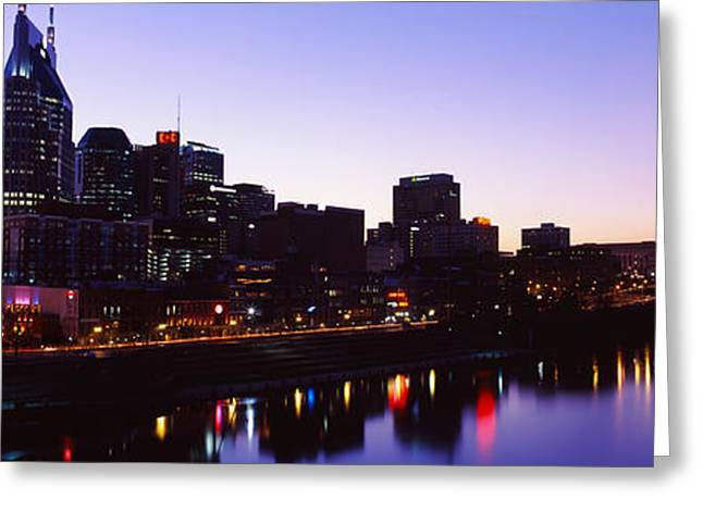Tennessee River Greeting Cards - Skylines At Dusk Along Cumberland Greeting Card by Panoramic Images